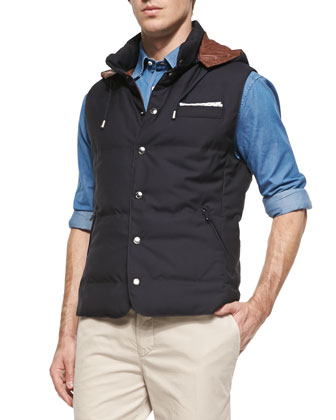 Wool Hooded Vest, Navy