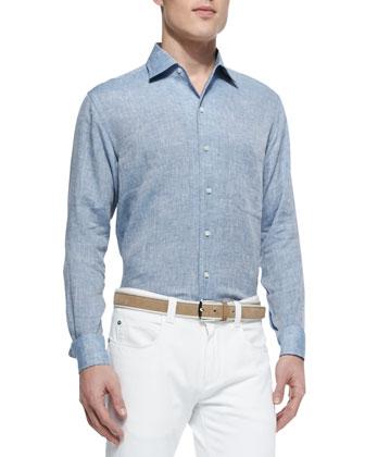 Andre Long-Sleeve Linen Shirt, Denim
