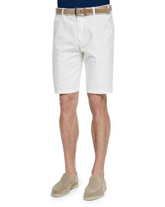 Flat-Front Bermuda Shorts, White