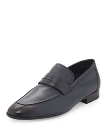 Lorenzo Calfskin Leather Loafer, Navy