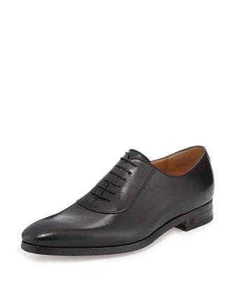 Leather Lace-Up Shoe, Black