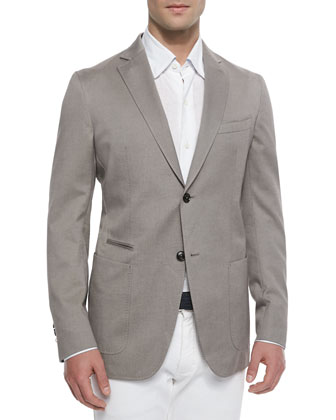 Basketweave Soft Two-Button Unlined Jacket, Beige