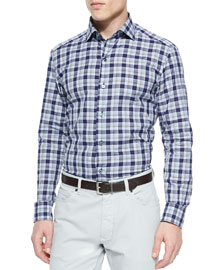 Large-Plaid Button-Down Shirt, Navy/Beige