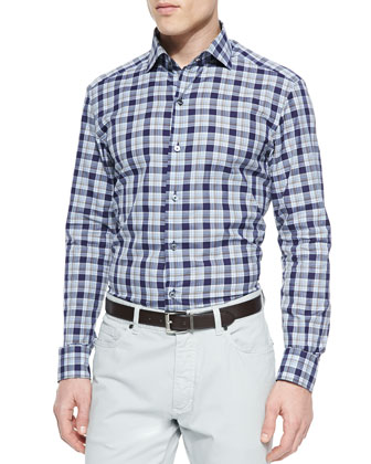 Large-Plaid Button-Down Shirt, Navy/Beige