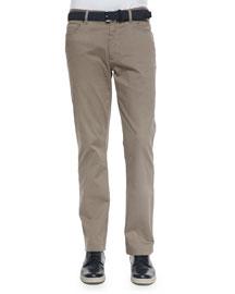 Five-Pocket Stretch-Cotton Pants, Khaki