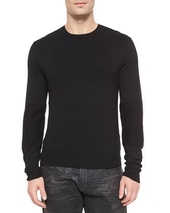 Ribbed Merino Wool Sweater, Black