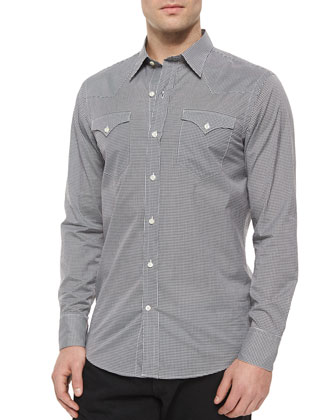 Gingham-Print Woven Western Shirt, Black/White