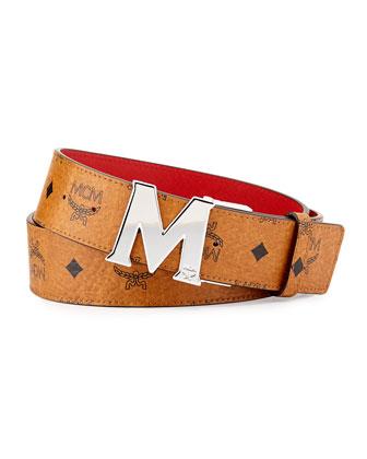 Reversible M-Buckle Monogram Belt, Cognac/Red
