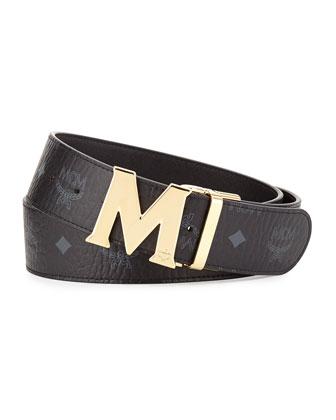 M-Buckle Monogram Belt, Black