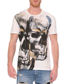 Double-Skull Graphic T-Shirt, White