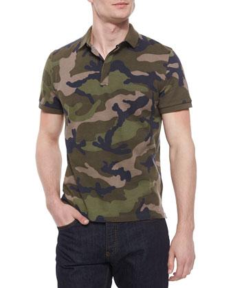 Camo-Print Pique Polo Shirt, Green