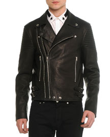 Asymmetric Leather Moto Jacket, Black