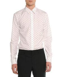 Cross-Printed Woven Shirt, White