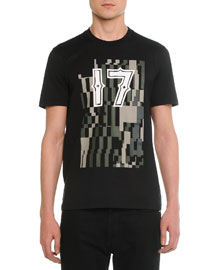 Short-Sleeve Tee with 17 Camo-Print Graphic, Black