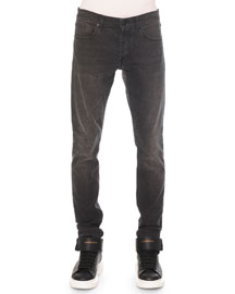 Faded-Wash Stretch Denim Jeans, Black
