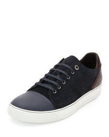 Low-Top Sneaker with Contrast Heel, Blue