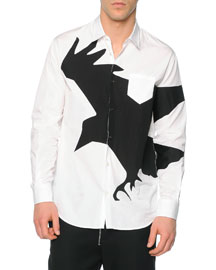 Long-Sleeve Crow-Graphic Sport Shirt