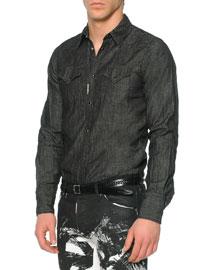 Long-Sleeve Denim Western Shirt, Black