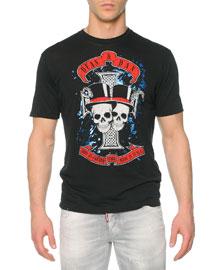 Skull-Graphic Woven Tee, Black