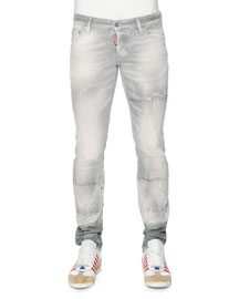 Slim-Fit Distressed Denim Jeans, Light Gray