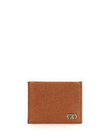 American Pebbled Leather Bifold Wallet, Brown