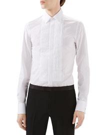 White Tux Pleated Bib Shirt w/ French Cuffs