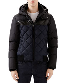 Black/Navy Quilted Hooded Puffer Jacket
