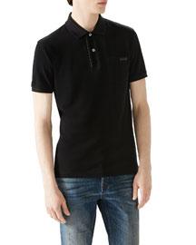 Black Short-Sleeve Pique Logo Polo w/ Leather Trim