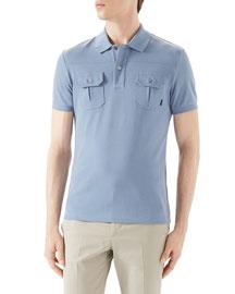 Light Blue Short-Sleeve Pique Military Polo w/ Chest Pockets