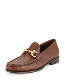 Mason Pebbled Gancini Loafer, Light Brown