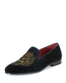 Slip-On Loafer with Embroidered Lion, Black/Mustard