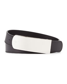 Logo-Buckle Leather Belt, Black