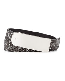 Embossed Leather Belt, Black