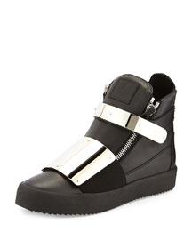 Men's Leather Metal-Strap High-Top Sneaker, Black