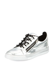 Men's Metallic Leather Low-Top Sneaker, Silver