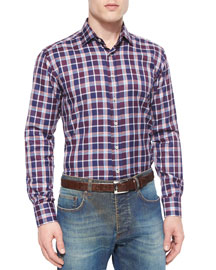 Plaid Long-Sleeve Sport Shirt, Burgundy/Navy