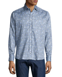 Geometric Paisley-Print Shirt, Blue Multi