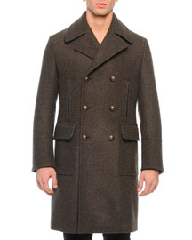 Long Double-Breasted Coat, Green/Gray