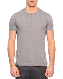 Short-Sleeve Knit Henley Tee, Gray
