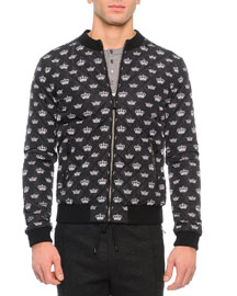 Crown-Print Quilted Zip Jacket, Black/White