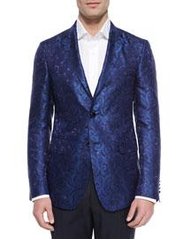 Paisley Jacquard Evening Jacket, Blue