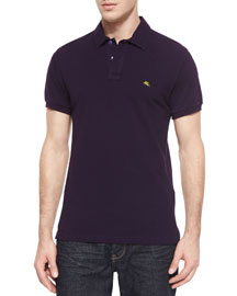 Short-Sleeve Pique Polo Shirt, Purple