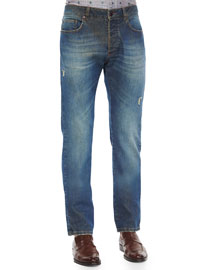 Five-Pocket Faded & Distressed Denim Jeans, Blue