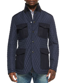 Quilted Jacket with Leather Trim, Navy
