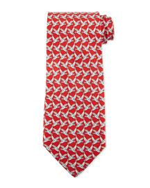 Birds Flying-Print Silk Tie, Red