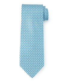 Leaf-Print Silk Tie, Light Blue