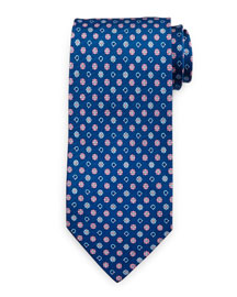 Gancini Flower Silk Tie, Blue/Pink