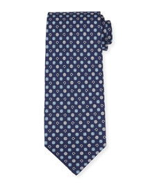 Gancini Flower Silk Tie, Blue/Gray