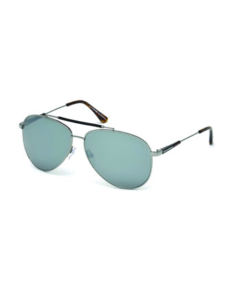 Rick Aviator Sunglasses in Shiny Metal