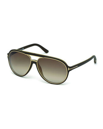 Sergio Injected Aviator Sunglasses, Matte Dark Brown